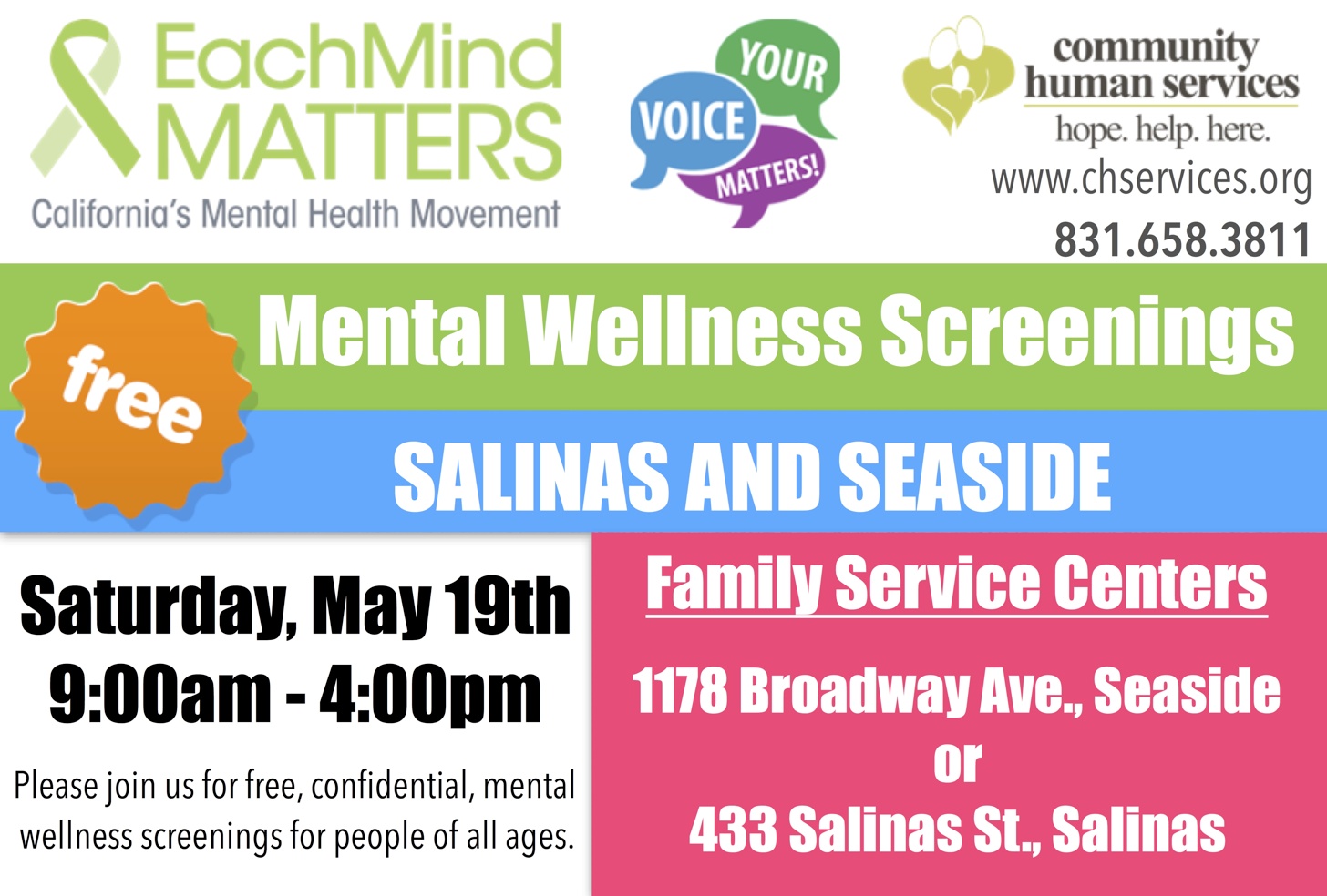 Free Mental Wellness Screenings Community Human Services